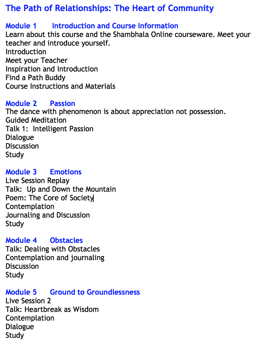 Path of Relationships course outline
